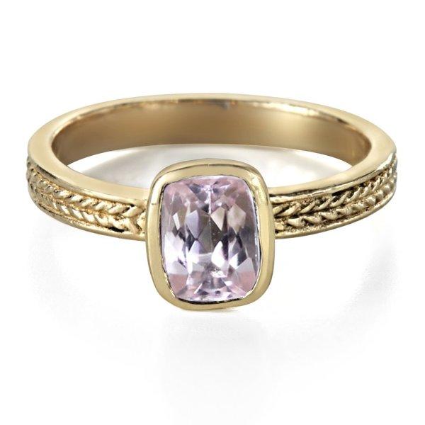 Pink Morganite Gold Ring, 14k Wheat Ring ($1,080)