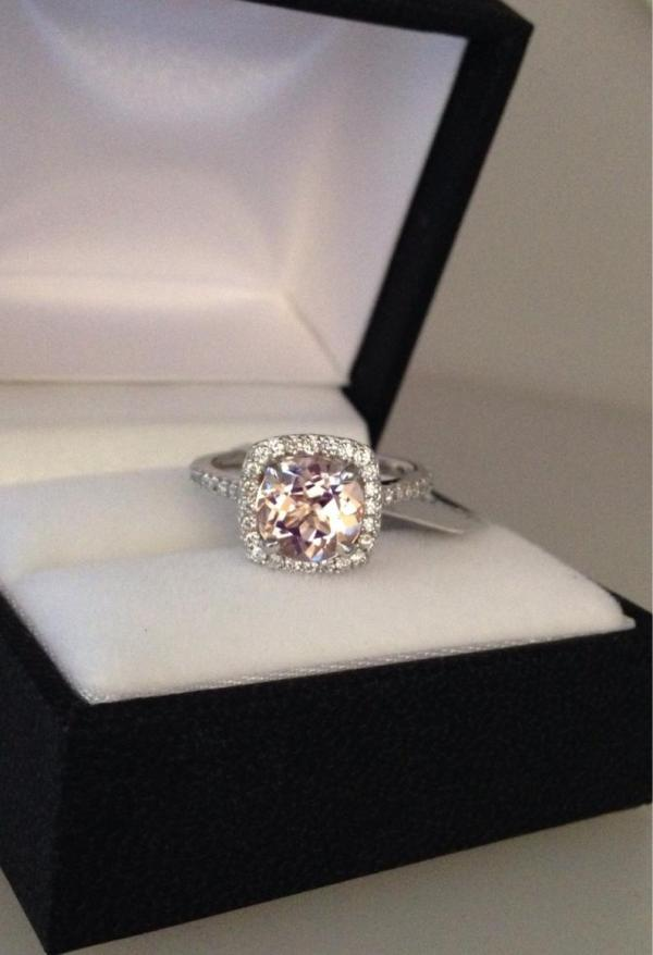 Morganite Engagement Ring Classic Halo ($1,800)