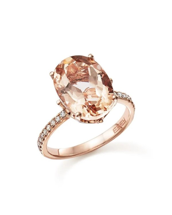 Bloomingdale's Morganite Oval and Diamond Statement Ring in 14K Rose Gold ($3,400)