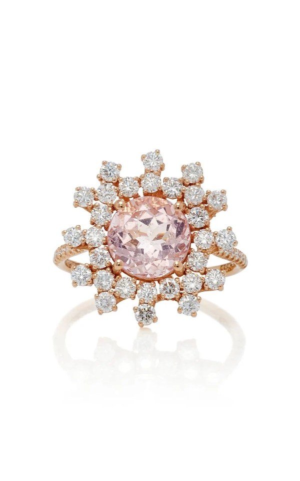 Suzanne Kalan One-Of-A-Kind Morganite and Round Diamond Ring – Rose Gold ($3,000)