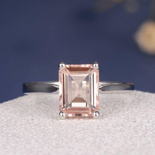 Morganite Ring Emerald Cut ($548)