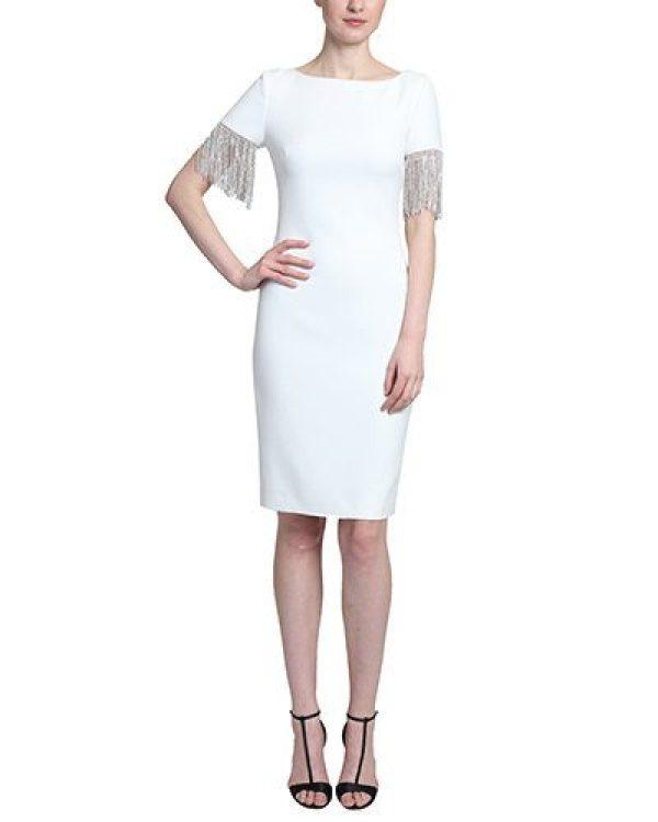 Badgley Mischka Women's Crystal Fringe-Sleeve Sheath Dress