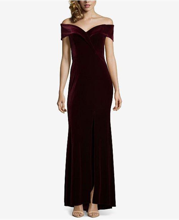 Xscape Off-the-Shoulder Velvet Gown