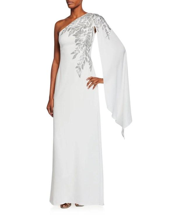 Tadashi Shoji Crepe One-Shoulder Gown ($390)