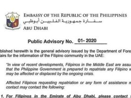 "BACOLOD CITY, Negros Occidental, Philippines - The Philippine embassy based in the United Arab Emirates capital is ready to send home Filipinos ""in view of recent developments"" in the Middle East."