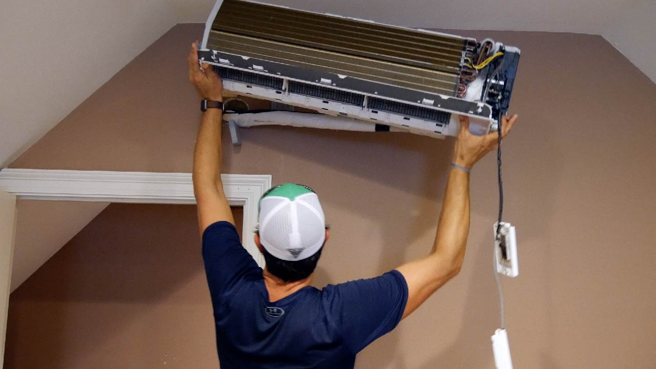 hight resolution of next i slowly lifted the inside unit from the wall bracket and gently laid it on the ground mrcool diy ductless mini split