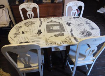 Mesa Comedor Antigua Francesa | Antigua Mesa Francesa Y Sillas Art ...
