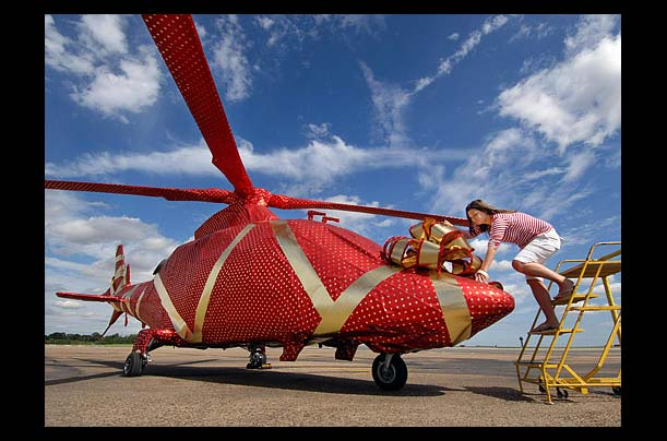 wrapped helecopter