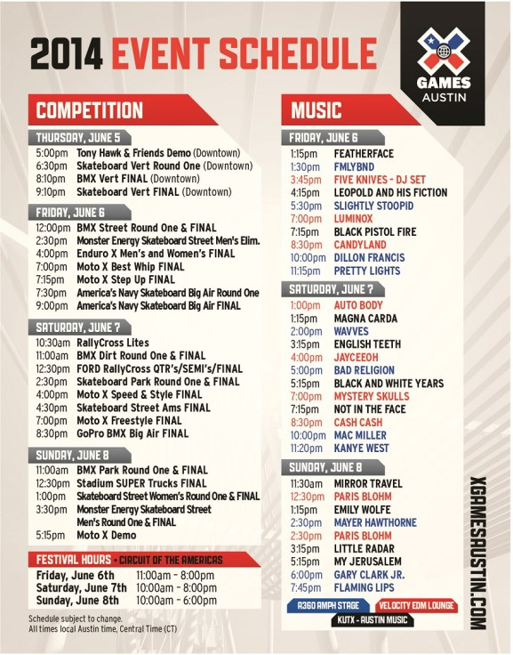 X Games Schedule Card 5-page-0