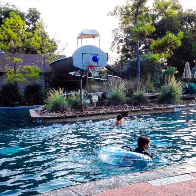 Shootin' hoops in the pool.