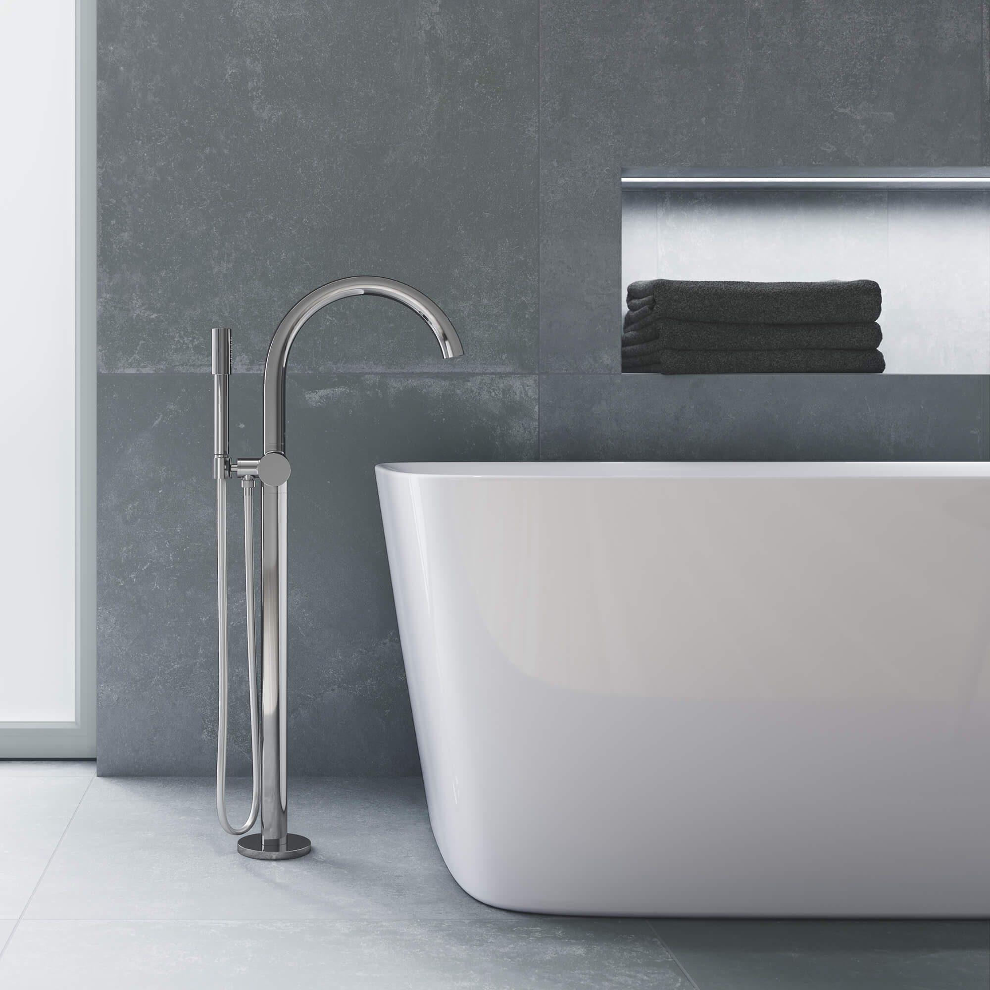 single handle freestanding tub faucet with 6 6 l min 1 75 gpm hand shower