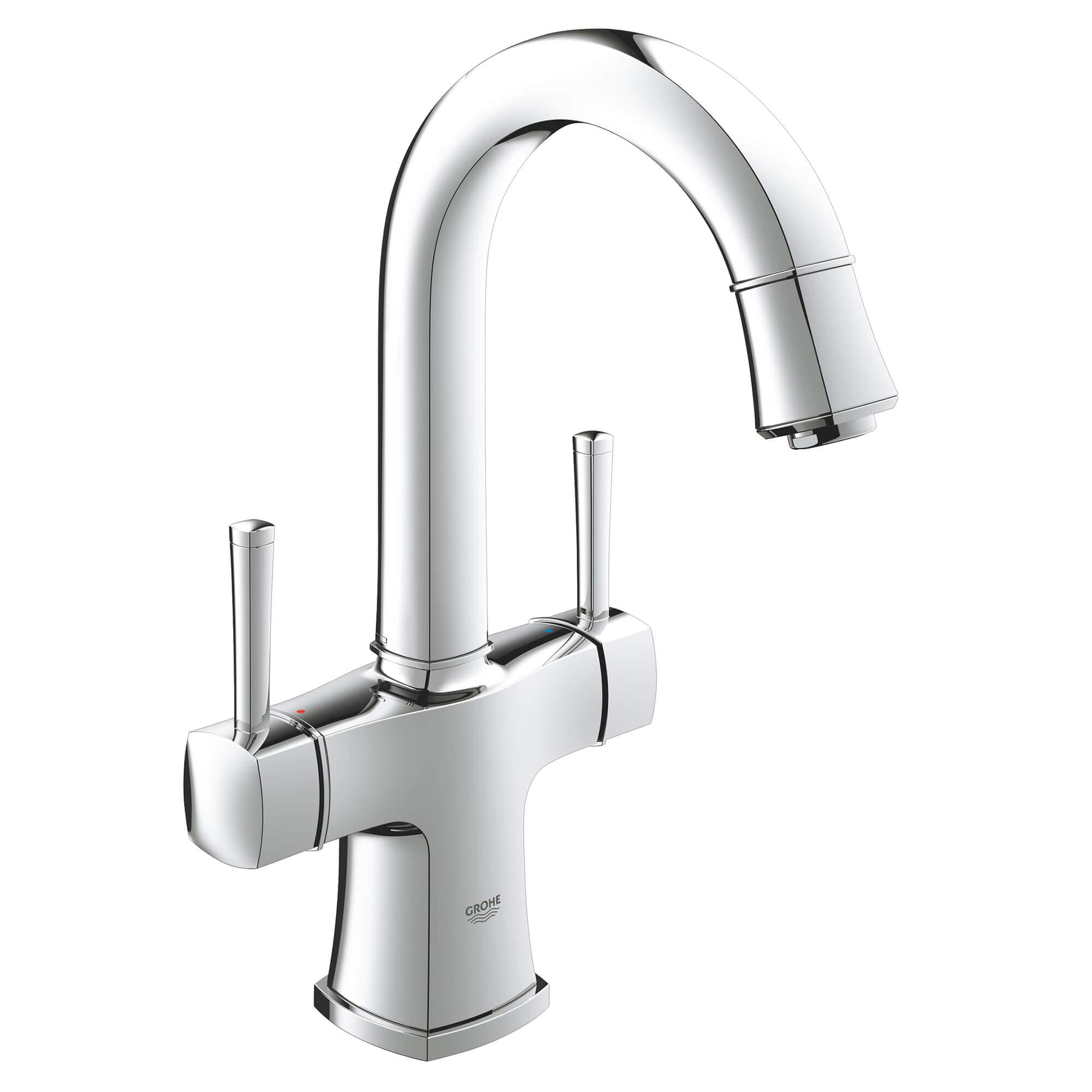 2 handle single hole high arc bathroom faucet