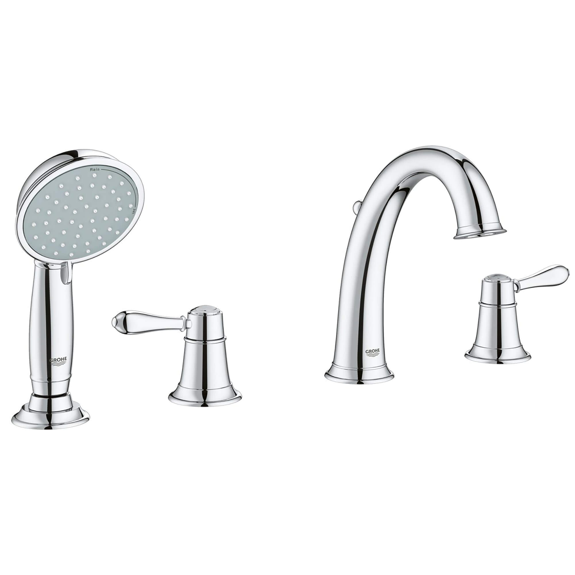 4 hole 2 handle deck mount roman tub faucet with 2 0 gpm hand shower