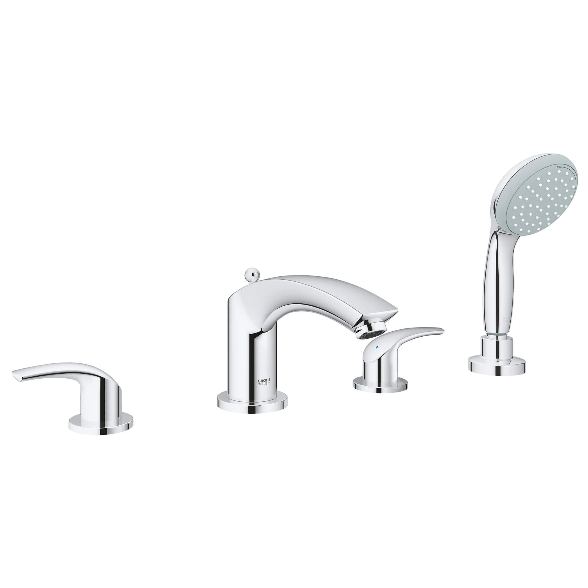 4 hole 2 handle deck mount roman tub faucet with 1 75 gpm hand shower