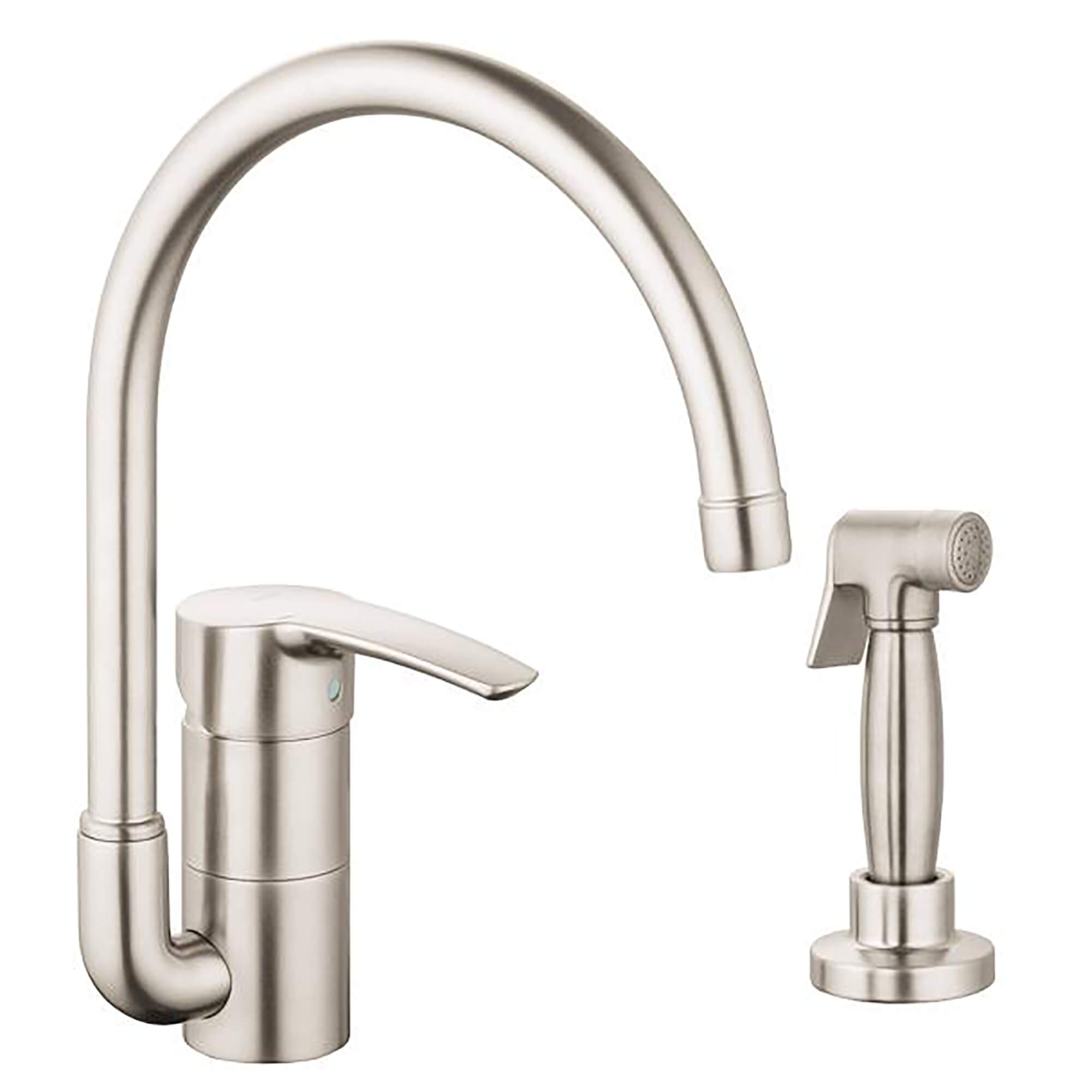 single handle kitchen faucet 1 75 gpm with swivel spout and side spray