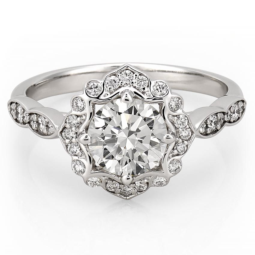 Floral Engagement Ring  Victoria Floral Diamond Ring  Do