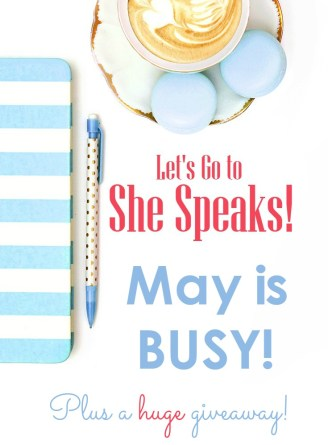 Lots of things to do in May to prepare for the She Speaks Conference! PLUS a giveaway of one year of Michael Hyatt's Platform University!