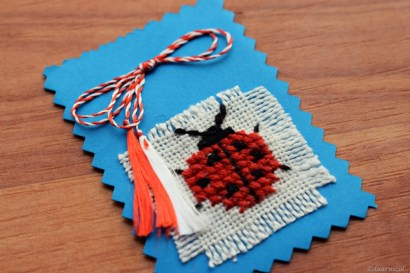 cutely woven... on blue