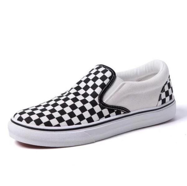 Black and white checkerboard slip on
