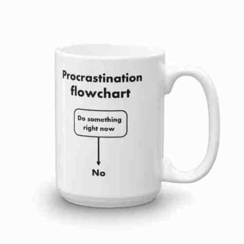 Procrastination Flowchart Mug (15 oz right)
