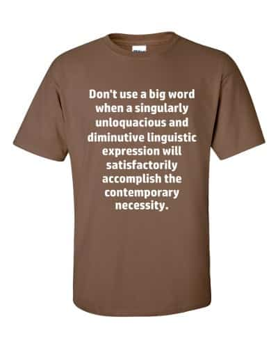 Don't Use Big Words T-Shirt (chestnut)