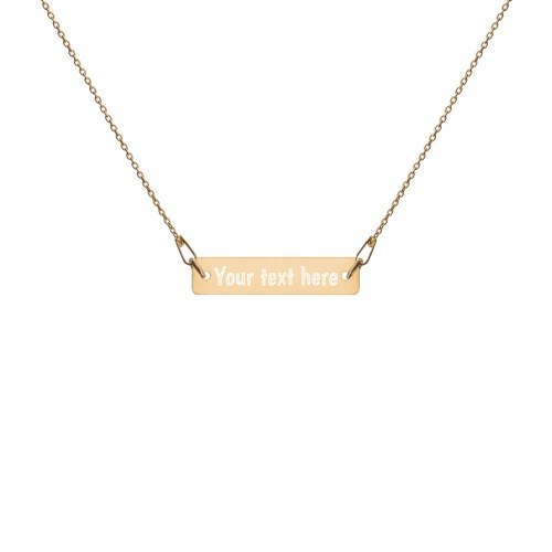 24K yellow gold sterling silver bar chain necklace