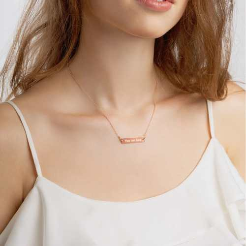 18K rose gold sterling silver bar chain necklace