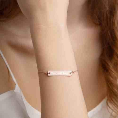 18k rose gold bar chain bracelet