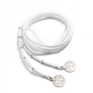 Boho Bižu náhrdelník Velvet Choker biely