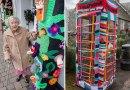104 letnia, uliczna artystka, udekorowała całe miasto swoimi wydzierganymi pracami