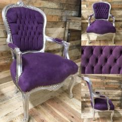French Louis Chair Folding Chairs With Cushion Purple Velvet Fabric Silver Leaf Frame Home