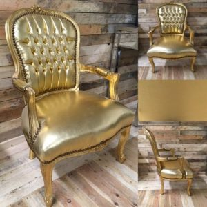 french louis chair wood high canada gold leatherette leaf frame