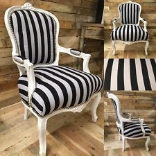 french louis chair collapsible computer striped fabric white frame home chairs