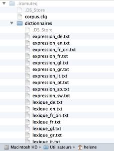 Localisation des dictionnaires Iramuteq sous Mac