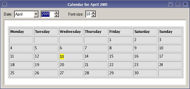 Calendar Example Qt Widgets 5 11