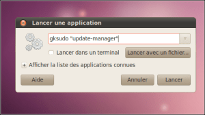 "Enter the instruction as ""gksudo"" program name """" (eg ""gksudo"" update-manager """")."