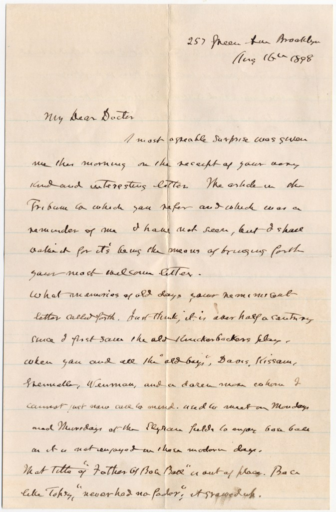Henry Chadwick letter to Doc Adams dated Aug 16, 1898 (page 1) [Source: Manuscripts and Archives, Yale University Library]