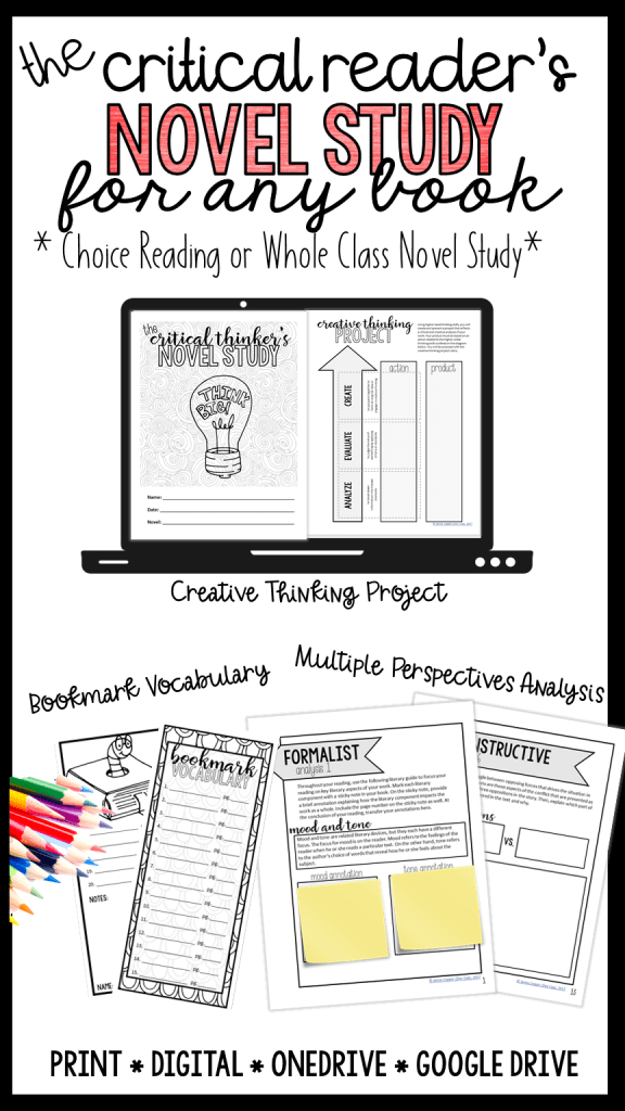 The Critical Reader's Novel Study includes everything you need for a whole class or choice reading unit and includes a creative thinking project for the final project based assessment.
