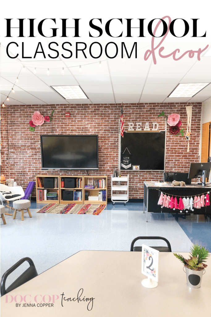 Looking for inspiration to decorate your high school classroom? Look no further! Tour my high school English flexible seating classroom with links to decor and setup items, and explanations for my creative process, teacher desks, and bulletin boards . Make decorating meaningful and functional!