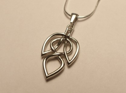 Celtic Knot Leaf Necklace - White Brass from Matter.io
