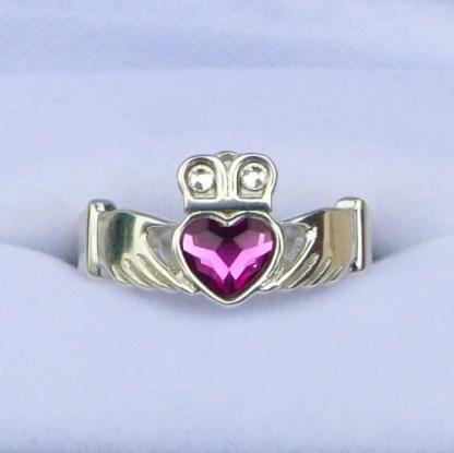 Fuchsia Crystal Claddagh Ring