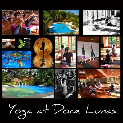 collage of Costa Rica yoga scenes
