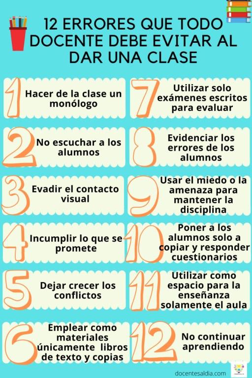 12 errores que todo docente debe evitar al dar una clase