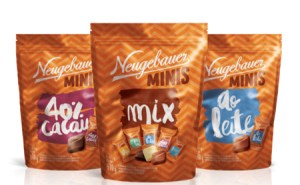 Novidade da Neugebauer linha de chocolate monodose agora em embalagem do tipo pouch.