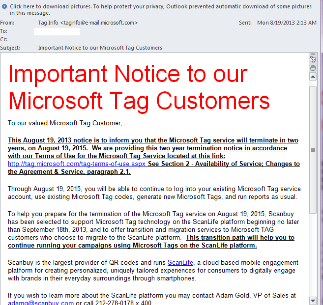 Important Notice to our Microsoft Tag Customers - Microsoft