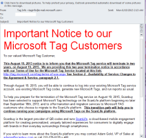 Important Notice to our Microsoft Tag Customers  - Microsoft Tags Discontinued