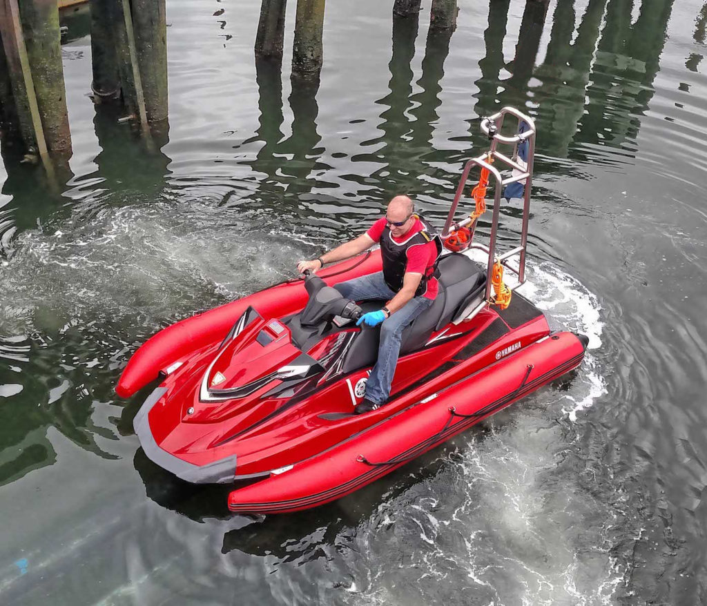 hight resolution of clip on inflatable stablejet collars make jet ski stable and safe for open water patrol
