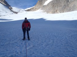 I am just about ready to go and recce the route across the glacier with my climbing partners. This was essential to identify where the large cravasses were, of which there were many.
