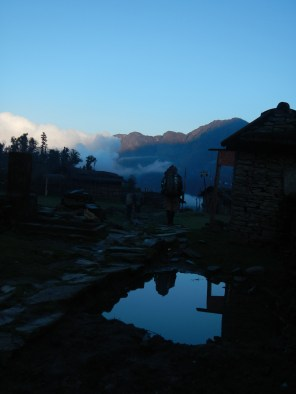 The morning sun south of Lukla as I head north back into the mountains.