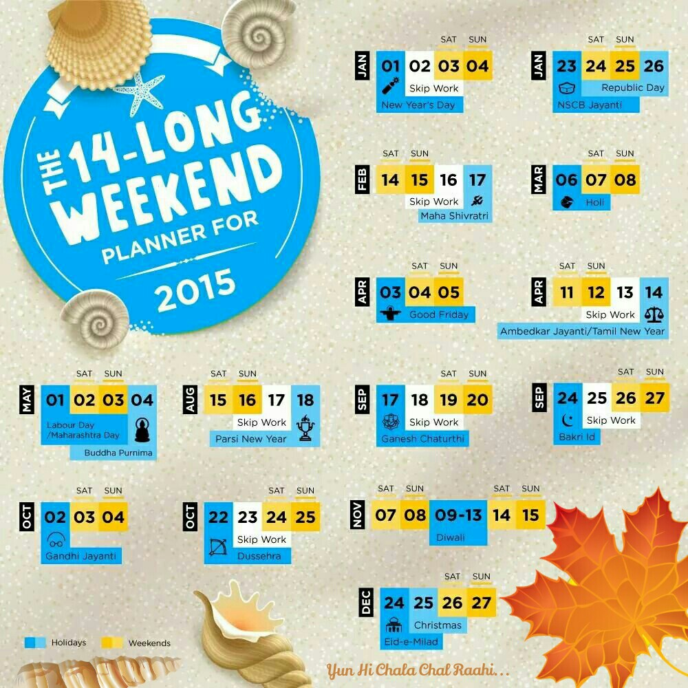Plan your weekend trips!!